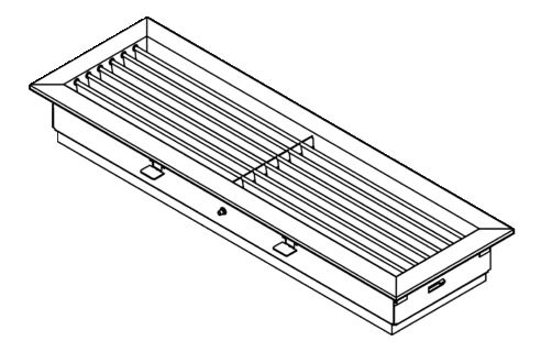 Internal air grille with adjustable outlet air angle