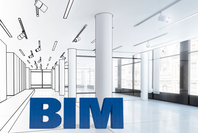 Building Information Modeling (BIM) lettering in an empty hallway, half drawn, half real, with pillars