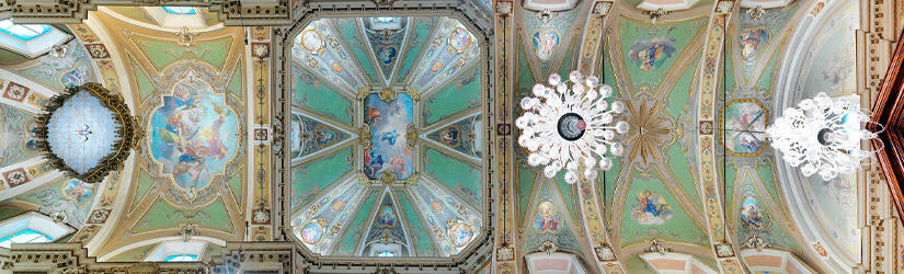 Painted ceiling in a church in Suisio in Italy