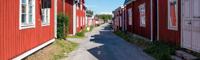 Red houses in a street in Scandinavia