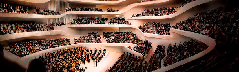 Concert hall in the Elbphilharmonie with musicians and large audience